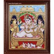 Durbar Krishna Tanjore Painting, Krishna Tanjore Painting