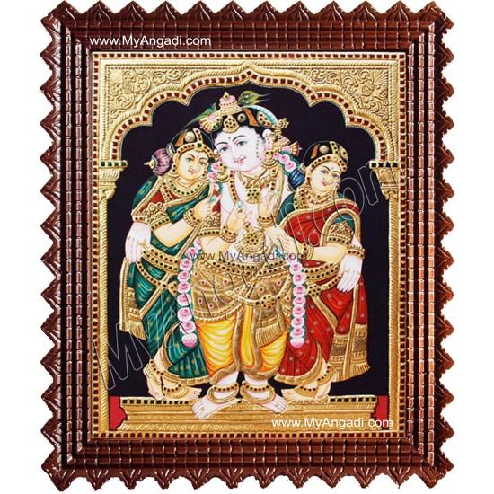 Krishna Bama Rukmani Tanjore Painting, Krishna Tanjore Painting