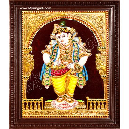 Mappilai Krishna Tanjore Painting, Krishna Tanjore Painting