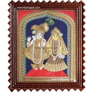 North Indian Krishna Radha Tanjore Painting, Radha Krishna Tanjore Painting