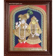 North Indian Krishna Radha Tanjore Painting, Radha Krishna Tanjore Painting