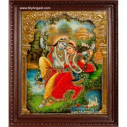 Swinging Radha Krishna Tanjore Painting, Krishna Tanjore Painting
