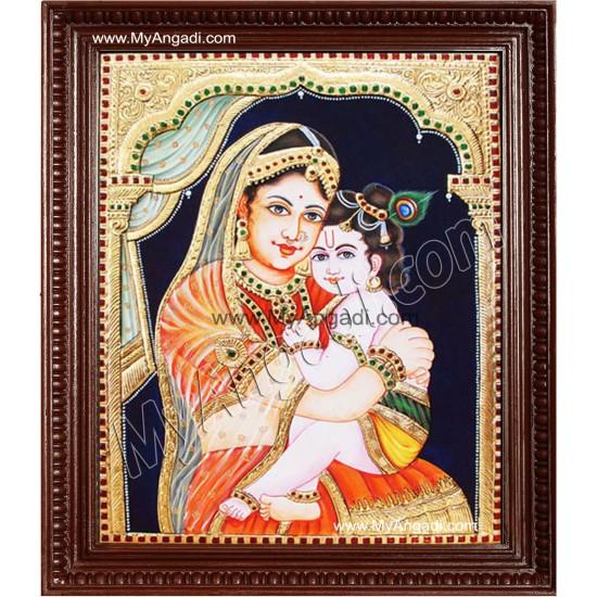 Yasotha Krishna Tanjore Painting, Krishna Tanjore Painting