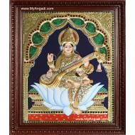 Saraswathi Tanjore Painting, Traditional Saraswathi Tanjore Painting