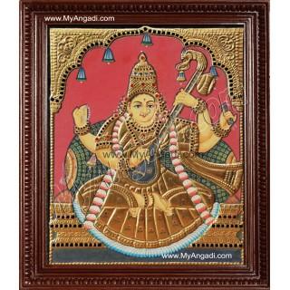 Antique Saraswathi Tanjore Painting, Traditional Saraswathi Tanjore Painting