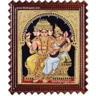 Brahma Saraswathi Tanjore Painting, Traditional Saraswathi Tanjore Painting
