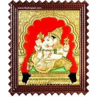 Side Face Ganesha Tanjore Painting, Ganesha Tanjore Painting