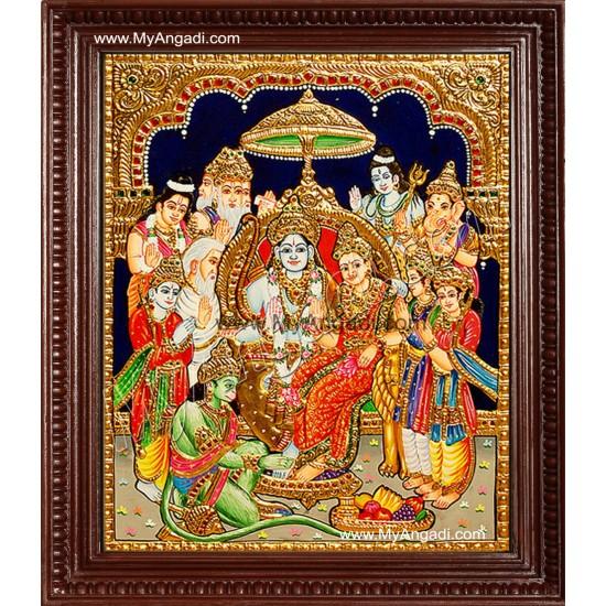 Ramar Pattabishekam Tanjore Painting, Ramar Tanjore Painting