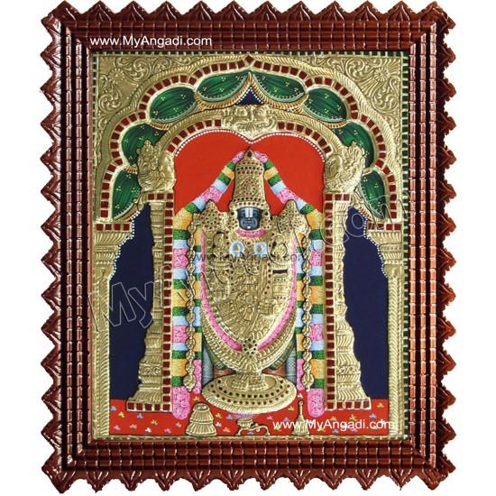 Balaji Tanjore Painting, Tirupati Venkateswara Perumal Tanjore Painting