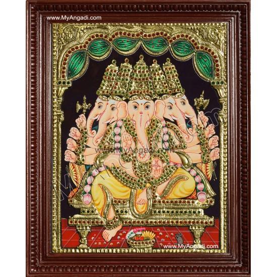 Panchamuga Ganesha Tanjore Painting