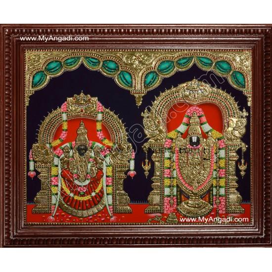 Thirupathi Venkatachalapathi & Thaayar Padmavathi Tanjore Painting