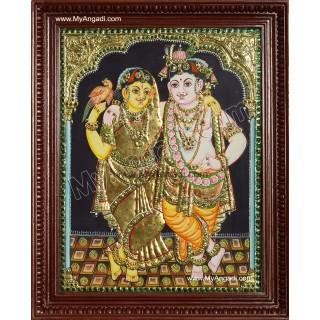 Krishna Rukmani Tanjore Painting