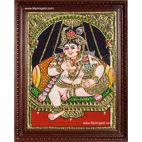 Swining Krishna Tanjore Painting