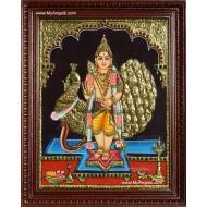 Murugan with Peacock Tanjore Painting