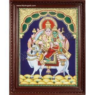 Pradosham Shiva Parvathi in Nandhi Tanjore Painting
