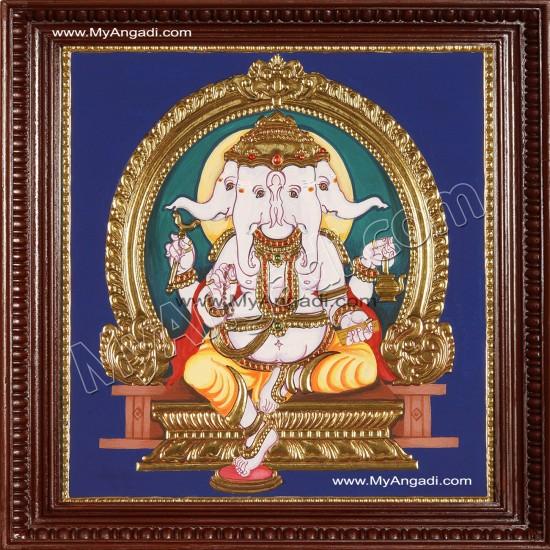 Pancha muga Ganesha Tanjore Painting