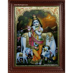 Krishna with Flute and Cow Tanjore Painting