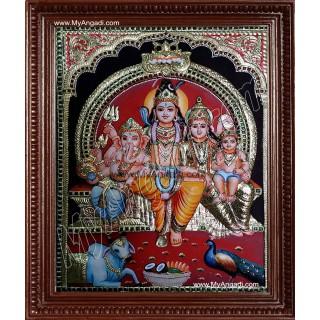 Shiva Durbar Super Emboss Tanjore Painting