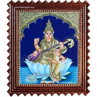Saraswathi in Lotus Tanjore Paintings