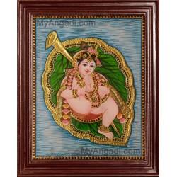 Alilai Krishna / Krishna in Leaf Tanjore Painting