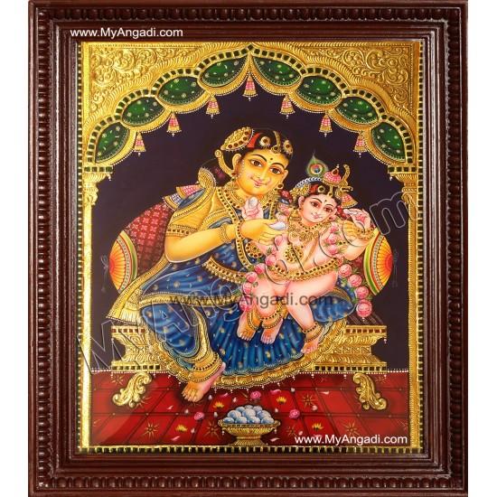 Krishna and Mother Yasoda Tanjore Paintings
