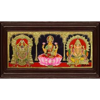 Balaji Lakshmi Ganesha Tanjore Painting