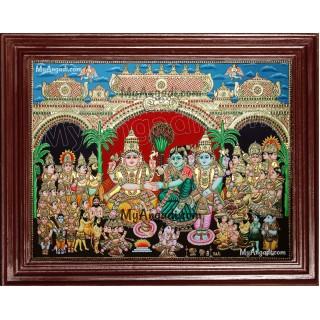 Girija Kalyanam - Shiva Parvati Kalyanam Wedding - Tanjore Painting