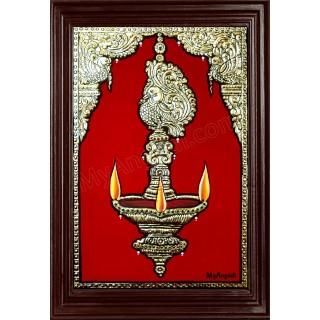 Vilakku Lamp Tanjore Painting