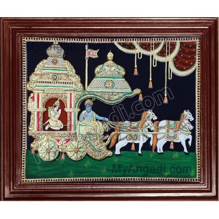 Krishna and Arjuna Geetha Upadesam Tanjore Paintings