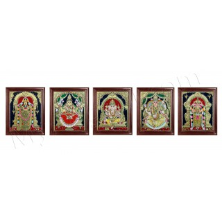 Ganesh, Lakshmi, Balaji, Saraswathi and Murugan Tanjore Painting Embedded with AD Stones - 12x10 inches