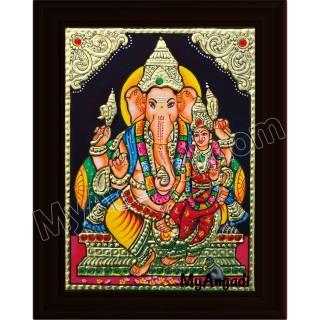 Ganesha Lakshmi Small Tanjore Painting