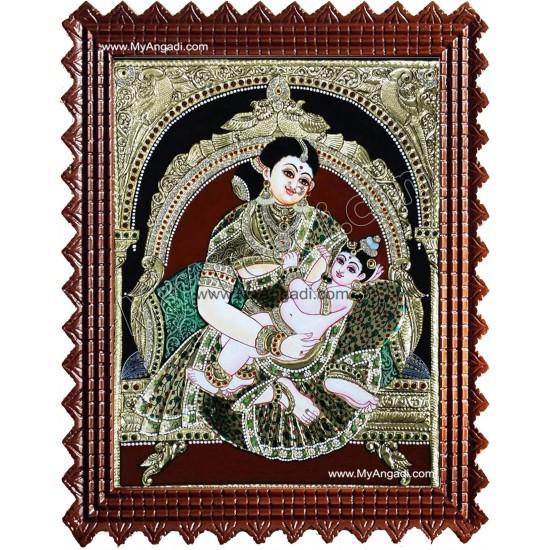 Yasodha Feeding Krishna Tanjore Paintings