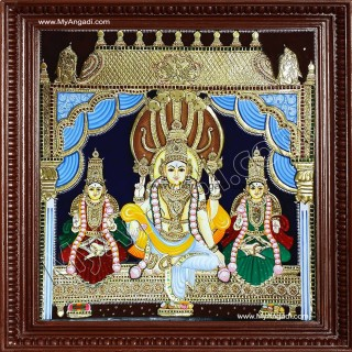 Vishnu with Sreedevi and Boodevi Tanjore Painting