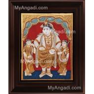Antique Krishna Bama Rukmani Tanjore Painting, Krishnar Bama Rukmani Tanjore Painting