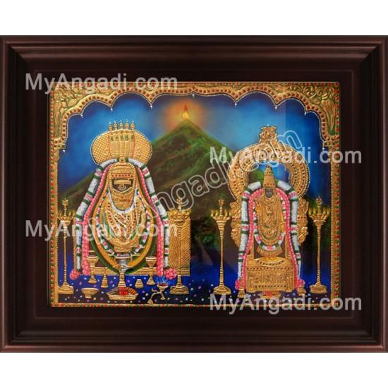 Annamalaiyar Unnamulaiammai Tanjore Painting, Annamalai Thayar Tanjore Painting
