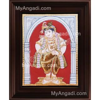 Antique Mappillai Krishna Tanjore Painting, Krishna Tanjore Painting