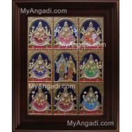 Ashta Lakshmi Tanjore Painting, AshtaLakshmi Tanjore Painting