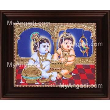 Butter Krishna Balaram Tanjore Painting, Baby Krishna Tanjore Painting