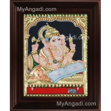 Ganesha With Books Tanjore Painting, Ganesha Tanjore Painting