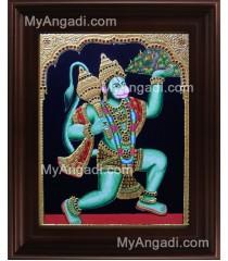 Hanuman With Sanjeevi Malai Tanjore Painting, Anchaneyar Tanjore Painting