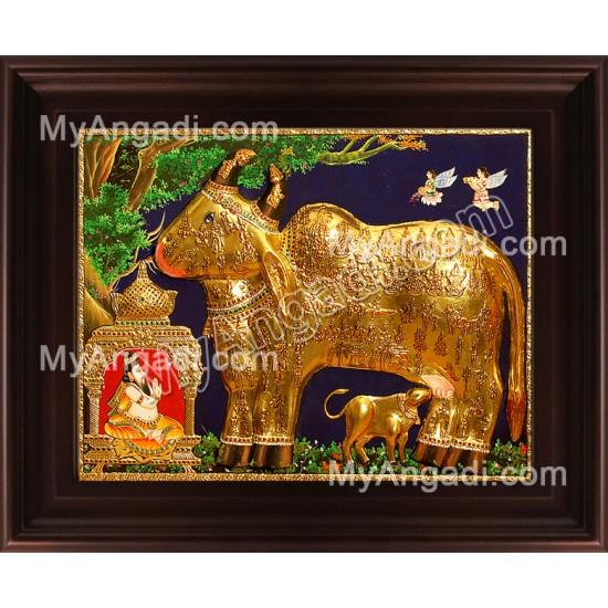 Kamadhenu Embossed Tanjore Painting, Komatha Tanjore Painting