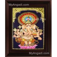 Kan Drishti Ganesha Tanjore Painting, Ganesha Tanjore Painting