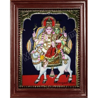 Siva and Parvathi in Pradosham Tanjore Painting