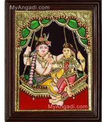 Swinging Radha Krishna Tanjore Painting