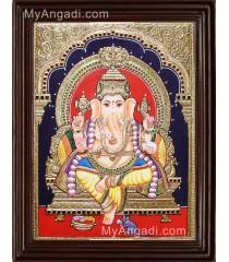 Yellow Dhoti Ganesha Tanjore Painting