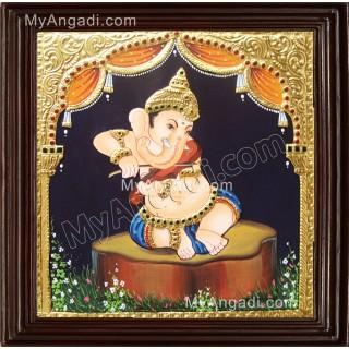 Nava Vinayakar Playing Music Tanjore Painting
