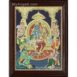 Lord Ramar with Sitadevi Tanjore Painting