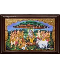 Krishna lifting Govardhana Hill Tanjore Painting
