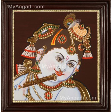 Face Krishna Playing Flute Tanjore Painting