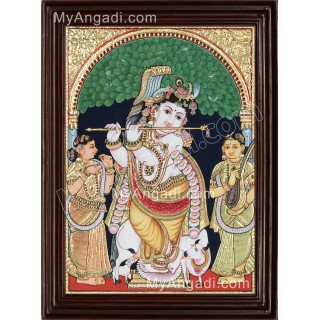 Krishna with Bama and Rukmani Tanjore Painting